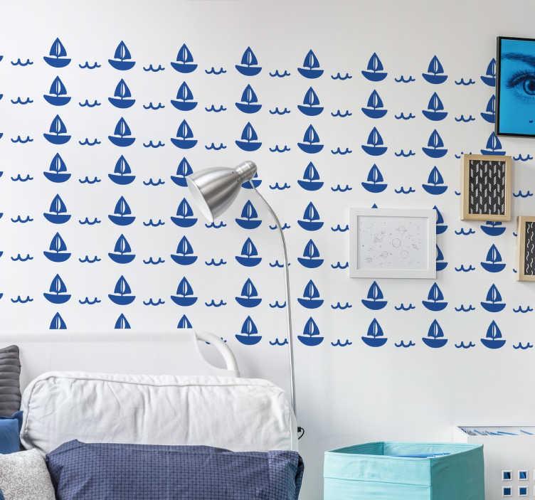 TenStickers. Naklejka dziecięca stateczek. Naklejka dekoracyjna dla dzieci przedstawiająca płynący stateczek.