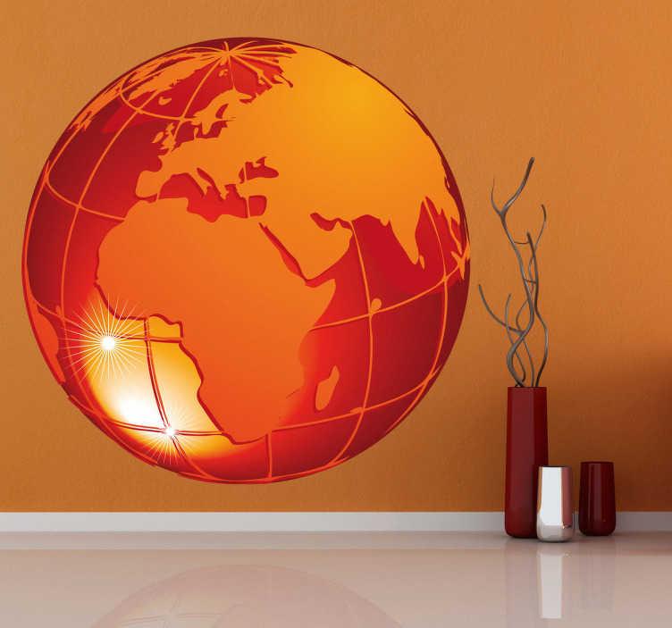 TenStickers. Sticker decorativo pianeta ardente 3. Adesivo murale che raffigura il globo terrestre di colore arancione, con vista sull'Africa, sull'Europa e su buona parte del continente asiatico.