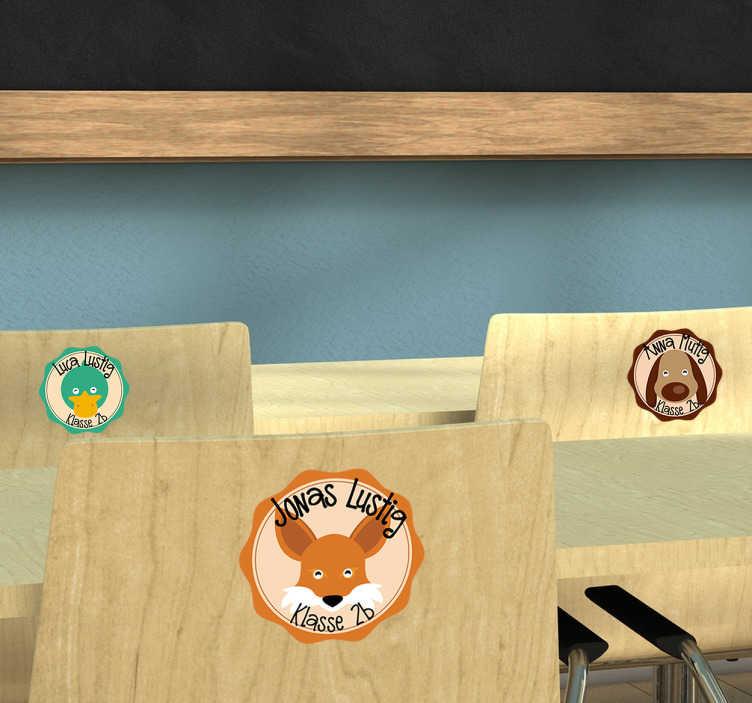 TenStickers. Namensaufkleber Schule Set Tiere. Tolles Set mit Namensetiketten für die Schule oder den Kindergarten zum Besseren Kennenlernen für die Kinder.