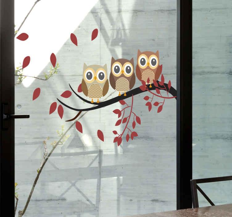 TenStickers. Raamsticker uiltjes op tak. Leuke raamdecoratie om het uitzicht op te fleuren. Een raamsticker met drie uiltjes op een tak, die met hun grote uilenogen naar binnen staren.