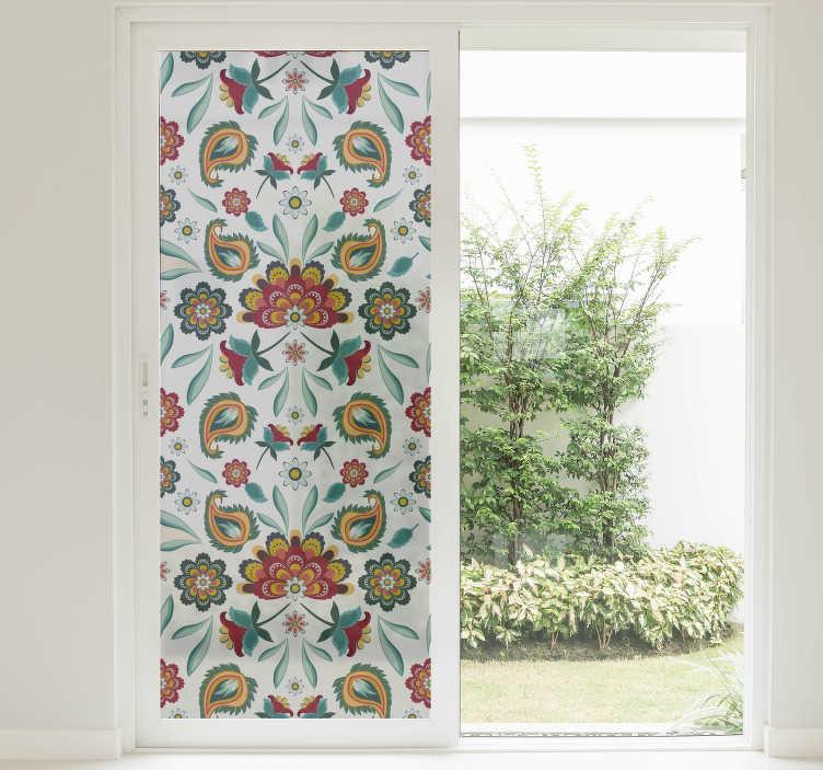 TenVinilo. Vinilo para cristales patrón floral. Vinilos decorativos para ventanas con una impresión de una elegante textura vegetal sobre material translúcido.