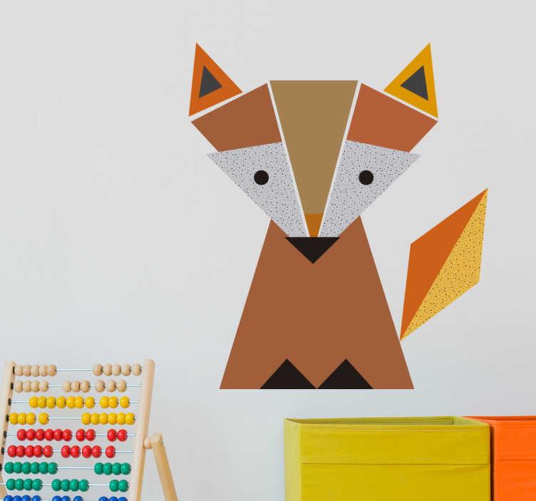 TenStickers. Vinil infantil rapoza geométrica. Autocolante decorativo deste fantástico caçador laranja. Vinil decorativo para crianças com o desenho de uma mascote de raposa.
