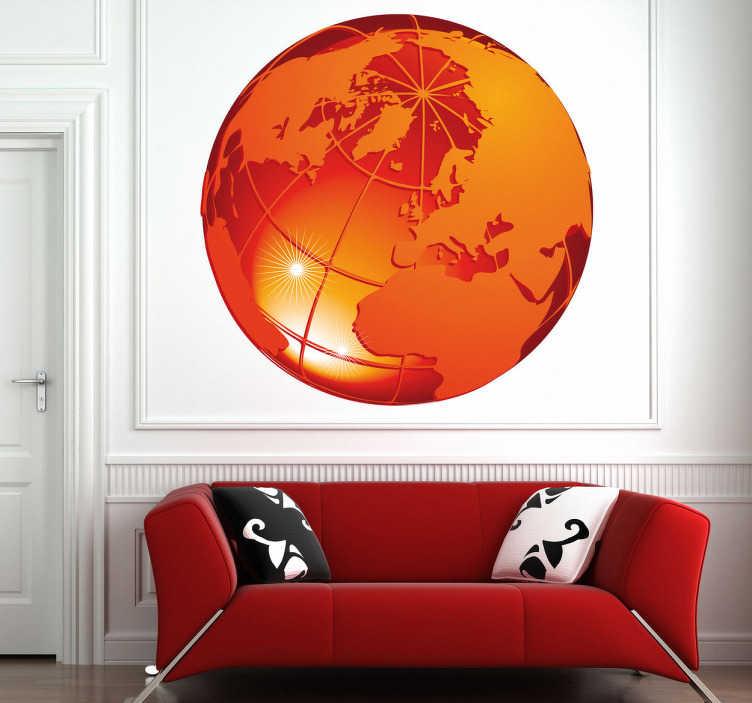 TenStickers. Sticker decorativo pianeta ardente 4. Adesivo murale che raffigura il globo terrestre di colore arancione, con vista sul Polo Nord, sull'Asia, sull'Europa, sull'Africa e sulle Americhe.