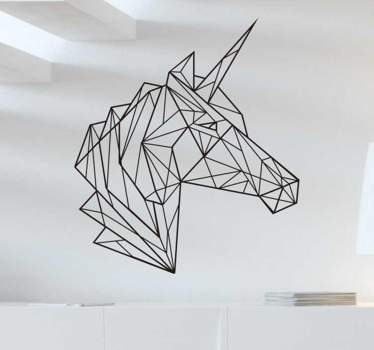 TenStickers. Muursticker eenhoorn geometrisch. Decoreer de ruimte met deze elegante muursticker van de kop van een eenhoorn in geometrische stijl. Express verzending 24/48u.