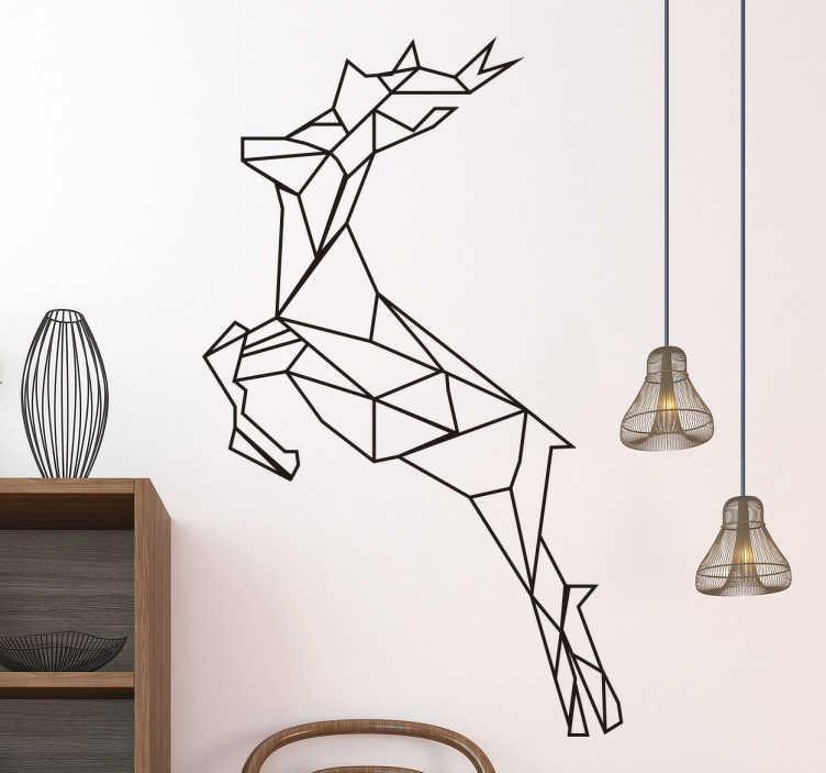 TenStickers. Vinil geométrico rena. Vinil decorativo moderno especialmente concebido para a campanhas de Natal, mas que é versátil para permanecer nas suas paredes durante todo o ano.