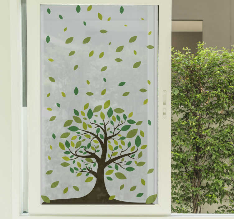 Vinil para janela árvore e folhas