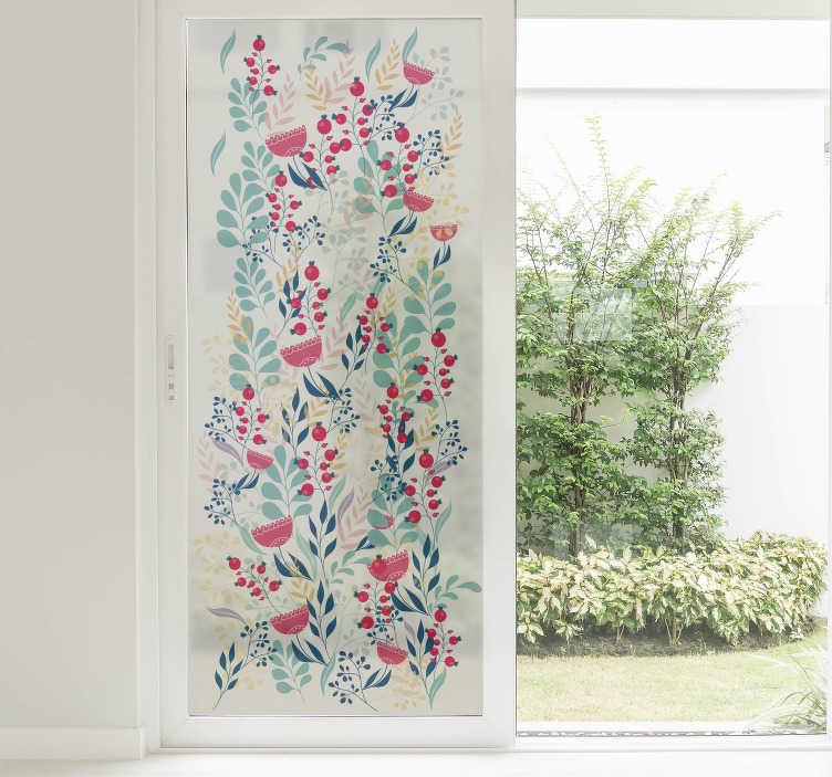 TenVinilo. Vinilo decorativo floral para ventana. Vinilos para ventanas de cristal con un elegante diseño de flores y hojas impresas sobre material esmerilado.