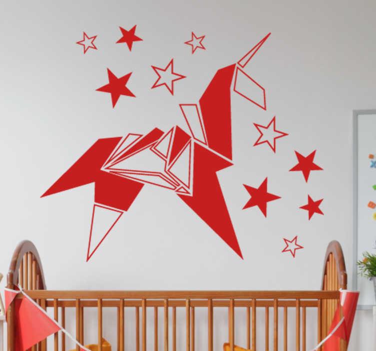 TenVinilo. Vinilos infantiles unicornio origami. Murales a medida para el cuarto de los más pequeños de casa con una representación de la figura de un animal mitológico.