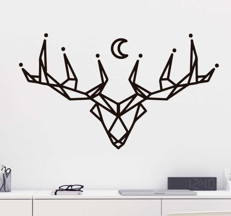 TenStickers. Wzór na ścianę jeleń geometryczny. Naklejka na ścianę zwierzęta przedstawia głowę i rogi jelenia przedstawione w geometryczny sposób Nad głową zwierzęcia ukazany jest księżyc.