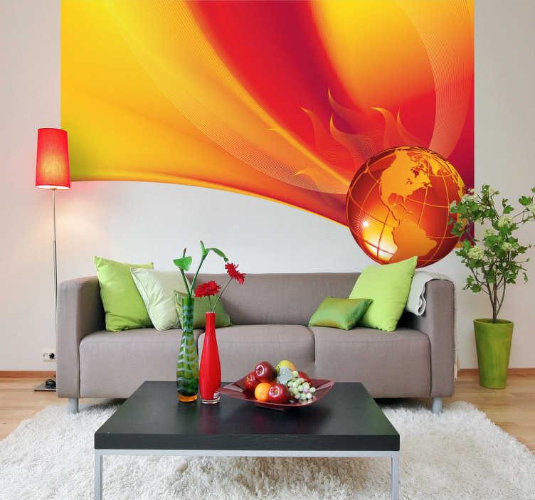 TenStickers. Naklejka płonąca planeta. Naklejka dekoracyjna, która pokazuje planetę w ogniu, na czerwonopomarańczowym tle.