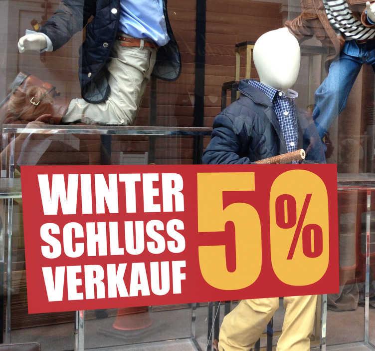 TenStickers. Schaufensteraufkleber Winterschlussverkauf. Toller Schaufensteraufkleber für den Winterschlussverkauf. Machen Sie Ihre Kunden auf Rabatte und Sales aufmerksam.