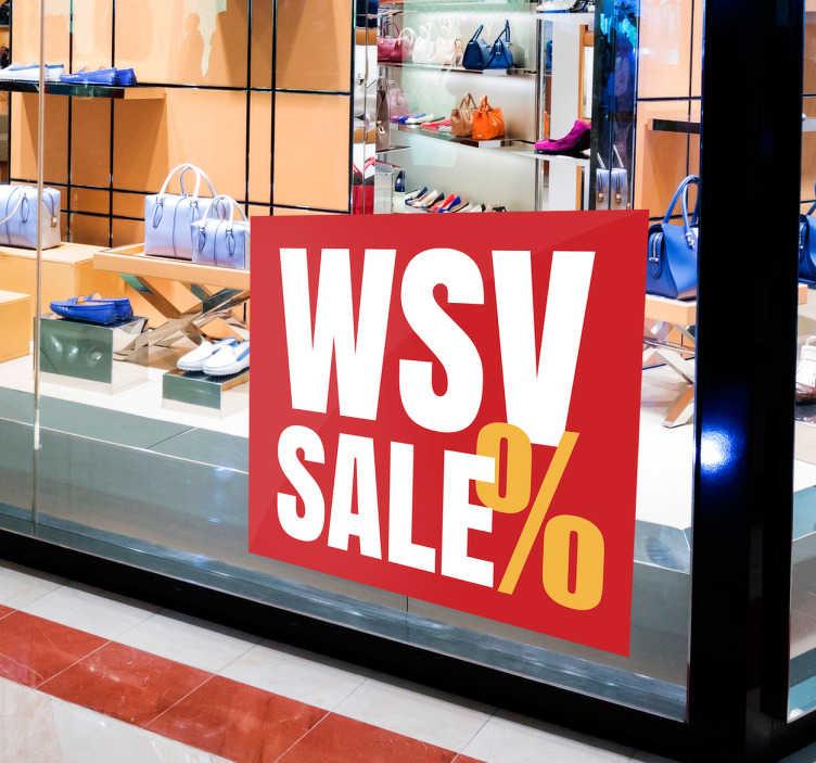 TenStickers. Schaufensteraufkleber WSV. Toller Schaufensteraufkleber für den Winterschlussverkauf. Machen Sie Ihre Kunden auf Rabatte und Angebote aufmerksam.