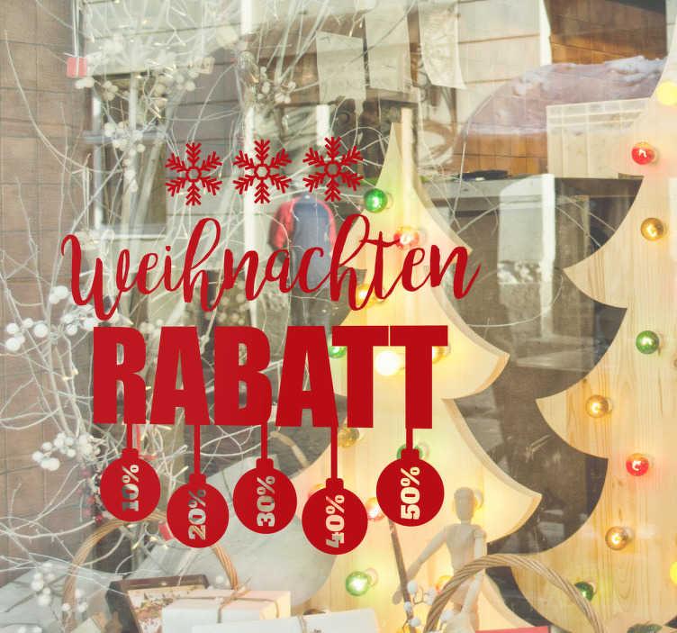 TenStickers. Winter Angebot Aufkleber Weihnachten. Schaufensteraufkleber für besondere Rabatte oder Weihnachtsangebote! In Ihrer Wunschfarbe erhältlich. Mit Schneeflocken und Christbaumkugeln.