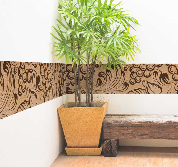 TenStickers. Muursticker sierrand kurk. Originele muursticker behangrand met een weergave van een elegante textuur van druiven en wijnstokken.