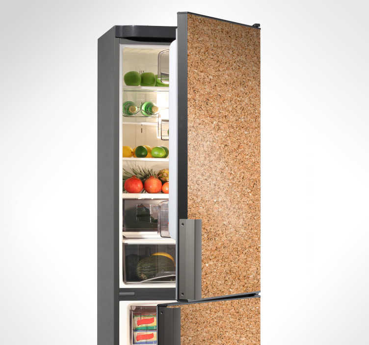 TenStickers. Autocolante para frigorífico efeito cortiça. Autocolante decorativo para frigorífico que criará a ilusão de que a superfície é feita de cortiça. Ideal para decoração de cozinha.