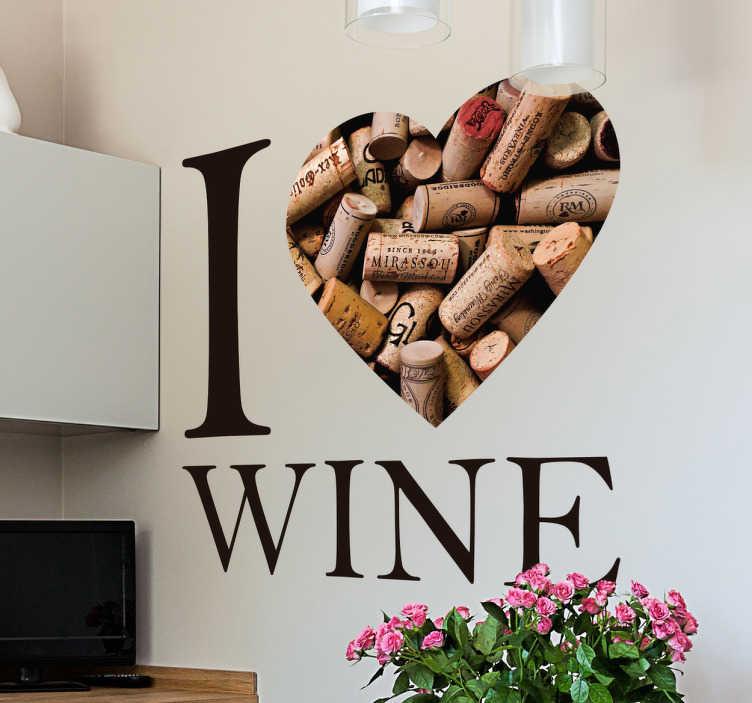 """TenStickers. Adesivo vinil I Love Wine. Vinil adesivo com a frase """"I love wine"""", substituindo a palavra """"love"""" por um coração em rolhas de cortiça."""