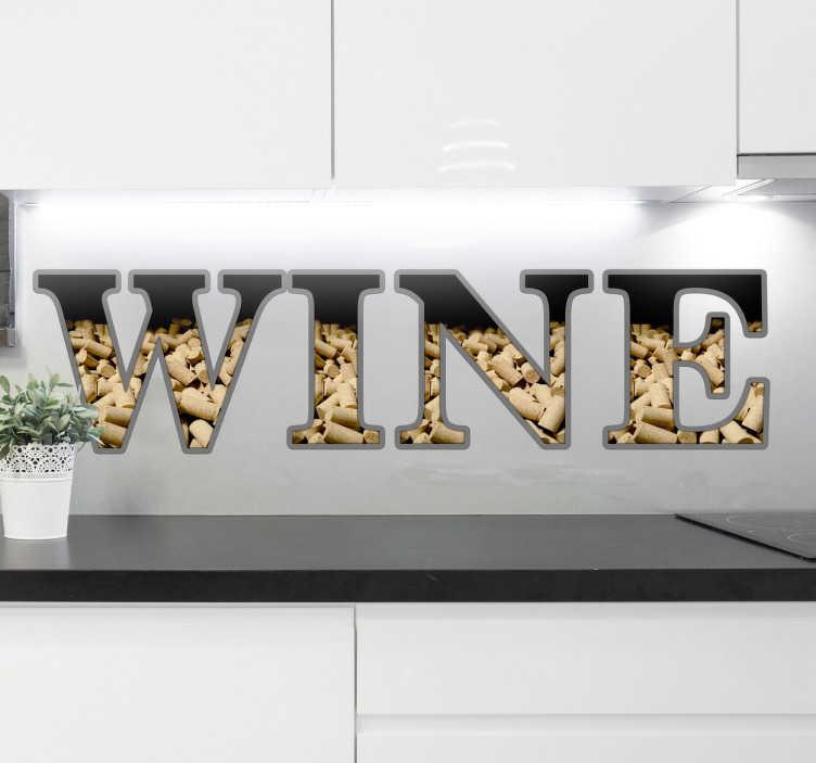 """TenStickers. Muursticker kurken wine. Decoratieve muursticker voor keukens van mensen die van lekker eten en drinken houden, met het woord """"Wine""""."""