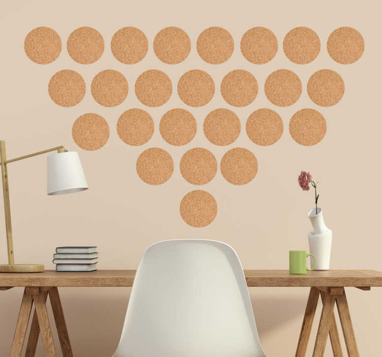 TenStickers. Vinil decorativo círculos efeito cortiça. desivos circulares com uma textura a imitar cortiça, ideal para dar um toque pessoal e rústico.