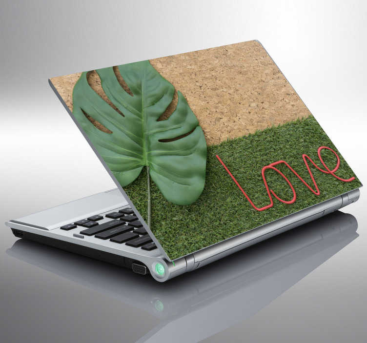 TenStickers. Laptop sticker kurk en gras. Hoge kwaliteit laptop skin met een dubbele textuur van kurk en gras en het woord Love. Stijlvolle accessoires voor je laptop.
