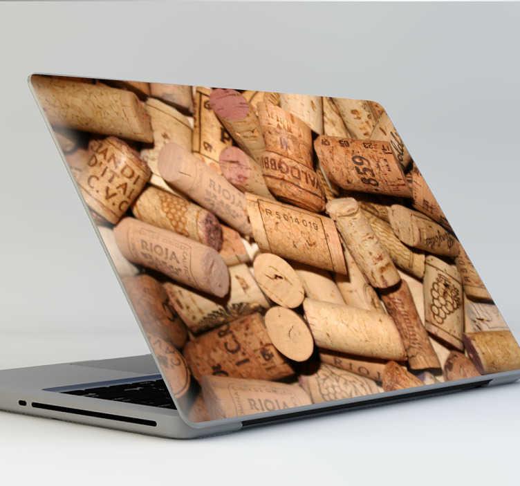 TenVinilo. Vinilo para portátil textura corcho. Adhesivos para ordenador para amantes del vino con una textura de corchos de botella, ideal para personalizar tu laptop.