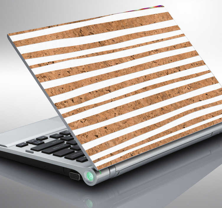 TenStickers. Adesivo per pc effetto sughero e linee bianche. Adesivo per computer  per personalizzare e dare un tocco originale! Di semplice applicazione , originale ed economico.