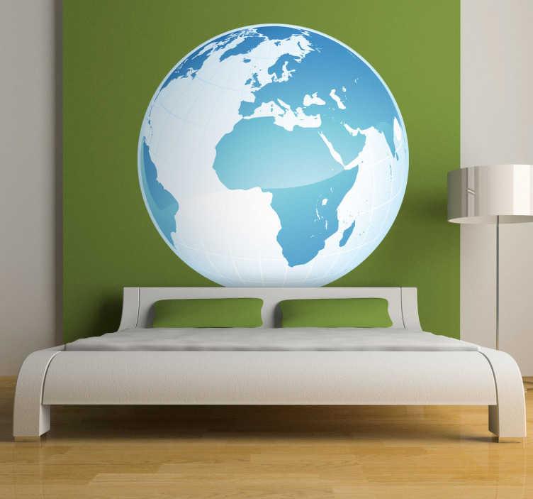 TenVinilo. Vinilo globo mapa África Europa. Adhesivo decorativo simulando el planeta tierra visto desde el espacio, destacando África, Europa y Oriente Medio.