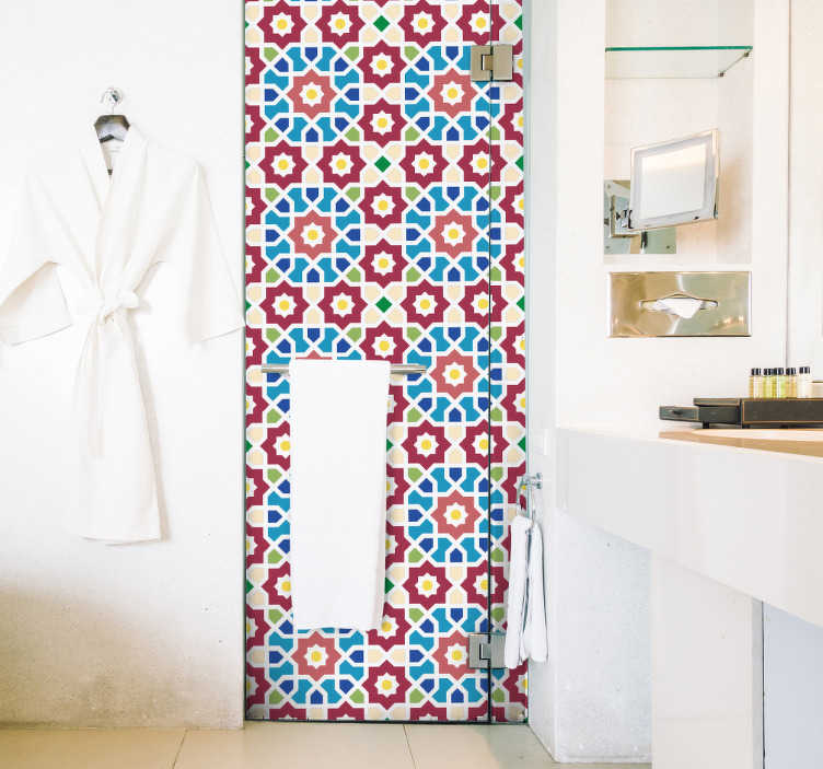 TenStickers. Arabic hydraulic  vinyl  print wall sticker. Adhesive sheet vinyl wallpaper decal for bathroom space with the design of colorful Arabic patterns. Available in any size of choice.