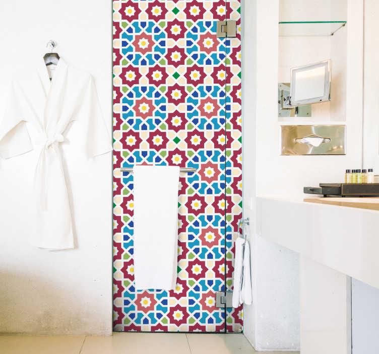 TenStickers. Azulejo hidráulico parede árabe. Vinil decorativo de um azulejo formado através dos padrões e diferentes cores, ideal para as paredes da tua casa. Tons vermelhos, azuis e verdes.