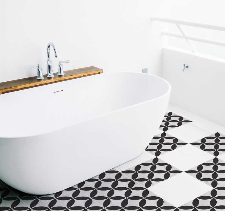 TenStickers. Azulejo hidráulico vinil padrão flor. Vinil decorativo para casa de banho com uma recreação de padrão de azulejos de estilo antigo para revestir os azulejos de tua casa.