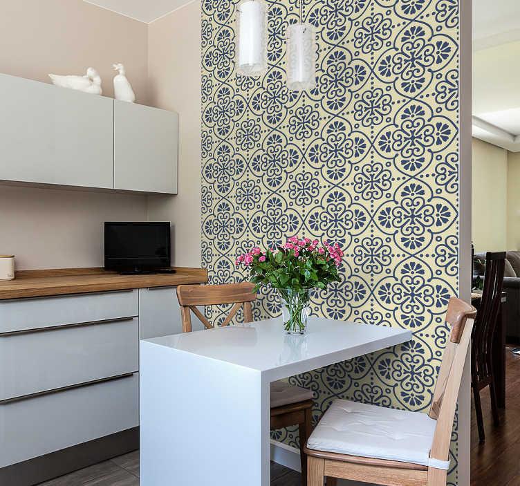 TenVinilo. Azulejos adhesivos patrón hidráulico. Vinilos de azulejos, con una elegante textura de inspiración floral, ideal para decorar cualquier estancia de tu casa.