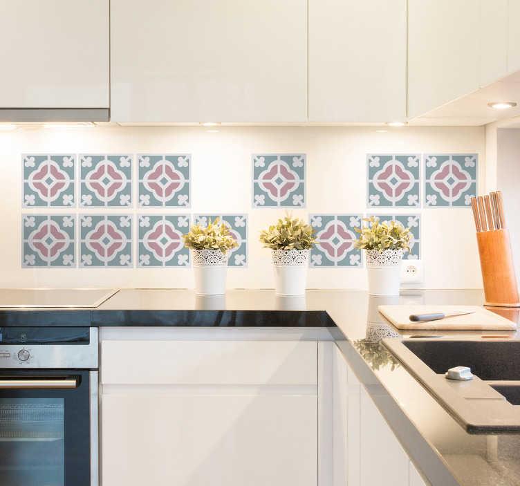 TenStickers. Vinil azulejo hidráulico floral. Vinil decorativo para cozinha com uma recreação de padrão de azulejos de estilo moderno para revestir os azulejos de tua casa.