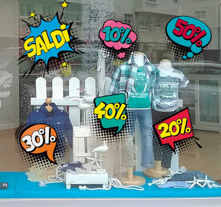 TenStickers. Adesivi saldi pop art per vetrine negozi. Adesivi saldi per vetrine negozi in un originale stile pop art per un design unico e originale