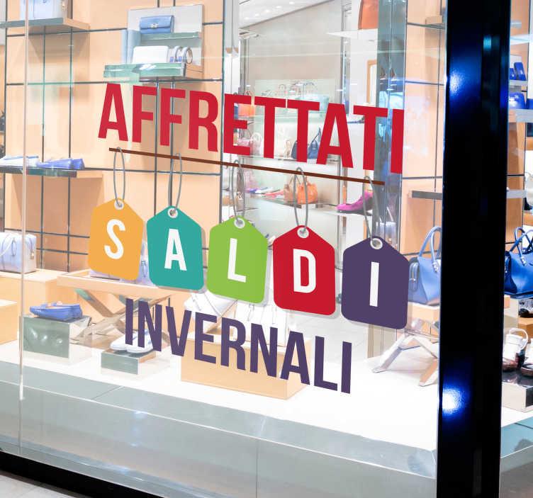 TenStickers. Adesivi vetrine saldi invernali Affrettati. Vetrofania per negozi per saldi invernali con colori differenti