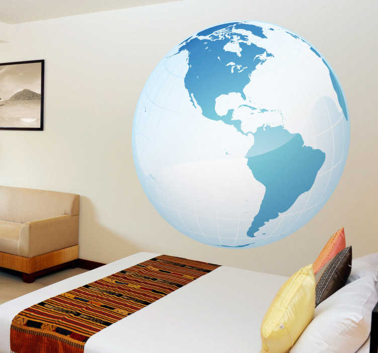 TenStickers. Autocollant mural globe Amérique. Stickers mural représentant le globe terrestre avec une vue privilégiée sur le continent Américain. Sélectionnez les dimensions de votre choix.Idée déco originale et simple pour votre intérieur.