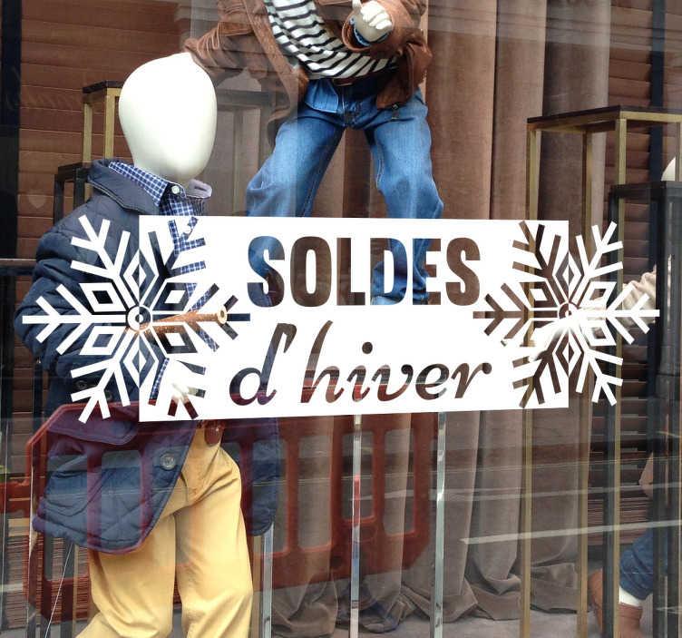 TenStickers. Autocollant vitrine soldes d'hiver. Décorez la vitrine de votre magasin grâce à cet autocollant vitrine soldes d'hiver. Une des période de soldes les plus propices !