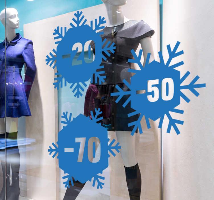 TenStickers. Sticker promotion flocons. Personnalisez la vitrine de votre magasin avec cet autocollant représentant des flocons de neiges personnalisables.