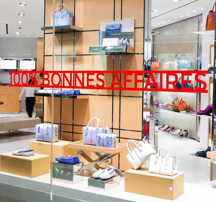 TenStickers. Sticker vitrine 100% bonnes affaires. Autocollant pour vitrine 100% bonnes affaires. Informez vos clients de vos petits prix pendant les périodes des soldes !