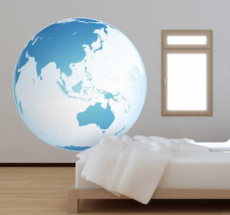 TenStickers. Autocollant mural globe Asie Océanie. Stickers mural représentant le globe terrestre avec une vue privilégiée sur le continent Asiatique et l'Océanie. Sélectionnez les dimensions de votre choix.Idée déco originale et simple pour votre intérieur.