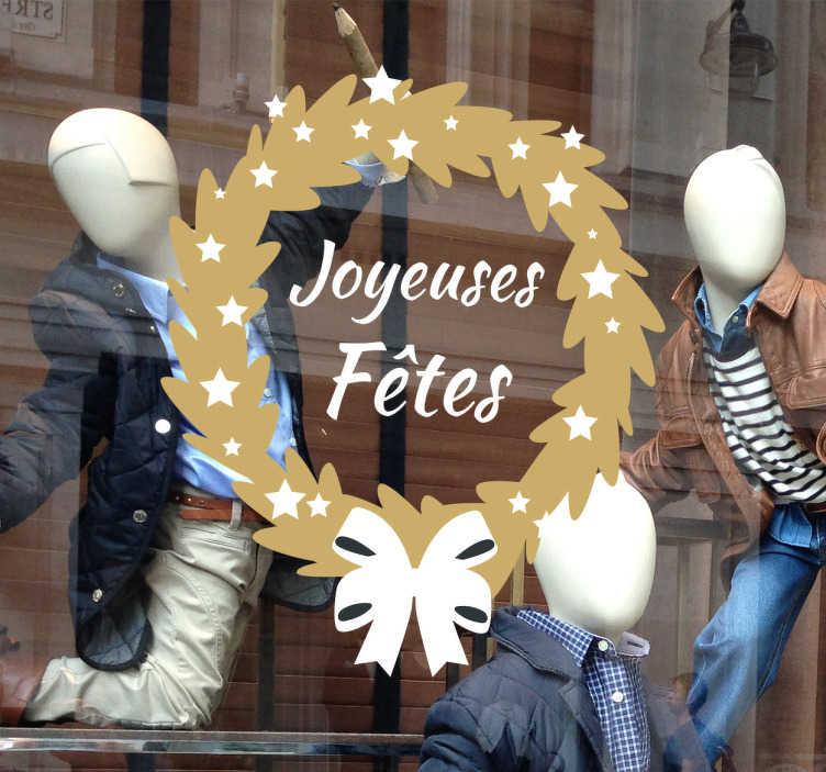 TenStickers. Sticker vitrine joyeuses fêtes. Décorez votre vitrine pour les fêtes avec cet autocollant pour vitrine joyeuses fêtes.