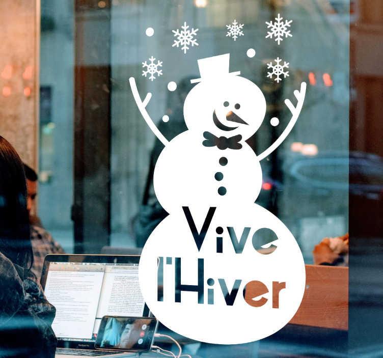 stickers vitrine bonhomme de neige
