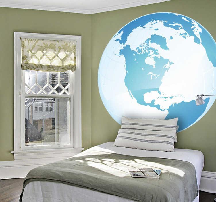 TenStickers. Naklejka biegun północny. Naklejka dekoracyjna ukazująca kulę ziemką z ukierunkowaną na biegun północny. Delikatna kolorystyka różnych odcieni niebieskiego, wywoła w nas spokój.