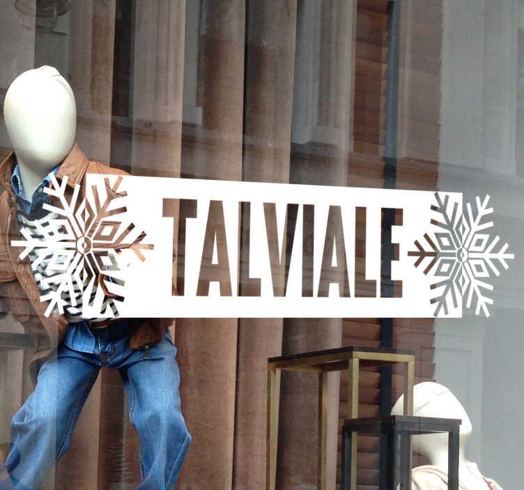 """Tenstickers. Talviale näyteikkunatarra. Talviale näyteikkunatarra. Tyylikäs koristetarra liikkeen näyteikkunaan tekstillä """"Talviale"""" mainostamaan talviajan alennusmyyntejä."""