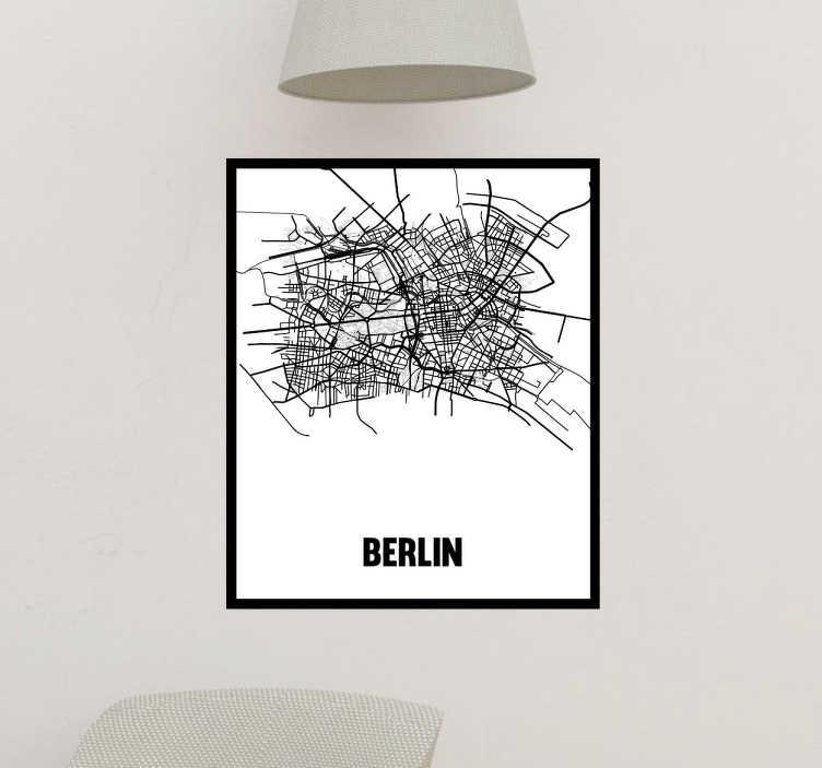 TenVinilo. Vinilo pared mapa ciudad berlin. Original vinilo adhesivo formado por el mapa de Berlín, enmarcado y acompañado del nombre de la capital alemana. Precios imbatibles.