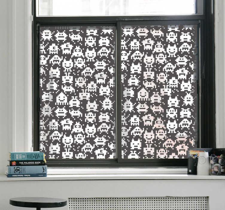 TenVinilo. Vinilo ventana monstruos videojuego. Original lámina de vinilo adhesiva para ventana o cristalera formada por un patrón de monstruos típicos de videojuegos. +50 Colores Disponibles.