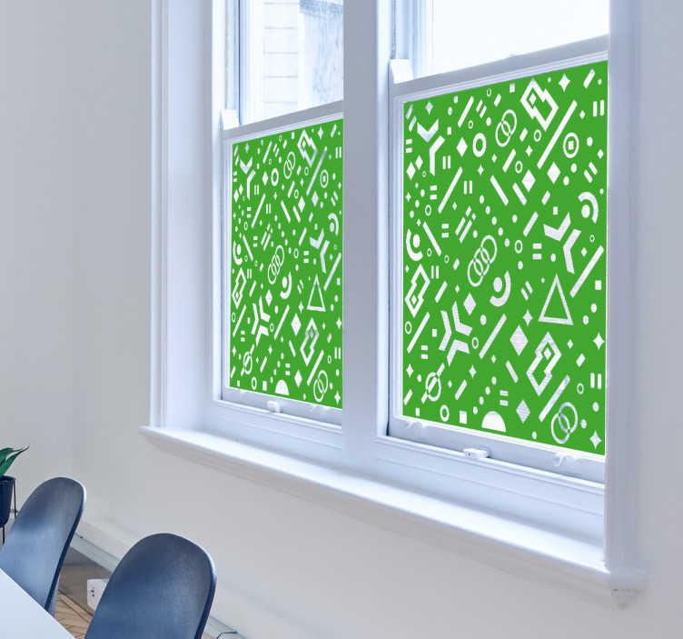 TenStickers. Vinil para janela geométrico. Dá mais vida às tuas janelas com este divertido vinil decorativo cheio de formas geométricas. Ideal para casa de banho ou cozinha.