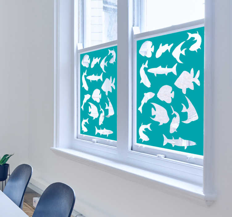 TenVinilo. Vinilo ventana silueta peces. Original vinilo adhesivo para ventana o cristalera con la silueta de varios peces sobre un fondo opaco. Atención al Cliente Personalizada.