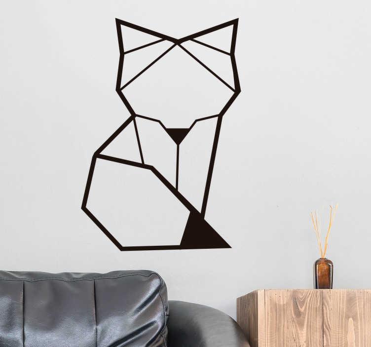 TenVinilo. Vinilo pared zorro geométrico simple. Pegatina adhesiva de estilo minimalista formada por la silueta de un zorro diseñado a partir de líneas rectas. Vinilos Personalizados a medida.
