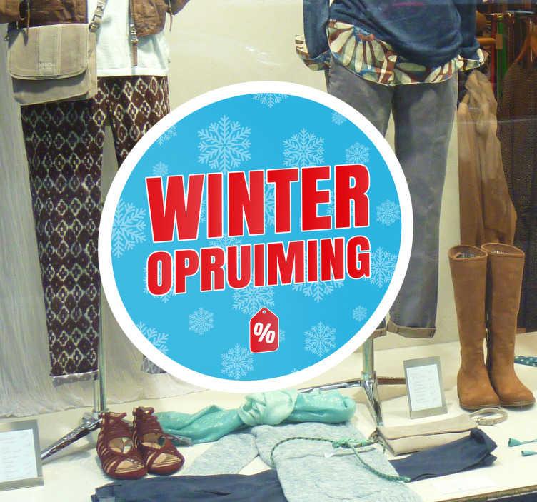TenStickers. Winkelraam sticker winteropruiming. Geeft uw winkel een winteropruiming en wilt u dat aan het voorbijgaand publiek laten zien? Deze reclame sticker is precies wat u zoekt.