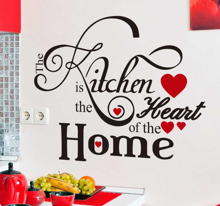 """TenStickers. Wandtattoo Kitchen Heart. Tolles Wandtattoo für die Küche mit der Aufschrift """"The kitchen is the heart of the home"""". Schöne Dekorationisdee für die ganze Familie."""