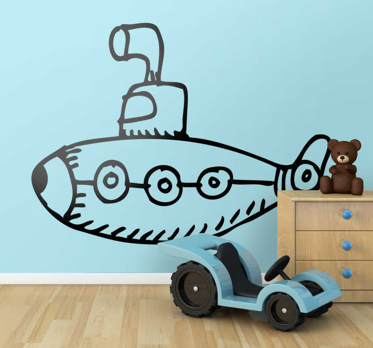 TenStickers. Podmořské děti samolepky pro děti. Tato ponorka nebo u-loď poskytne některé štěstí a dobrou náladu vašim dětem, protože přináší do ložnice nějakou variaci.